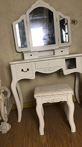 Beadroom Retro Vanity Beauty Station Makeup Table and Wooden Stool 3 Mirrors and 5 Drawers Set Elegant Household Table (Black) by Aurorax 1 (Image #1)