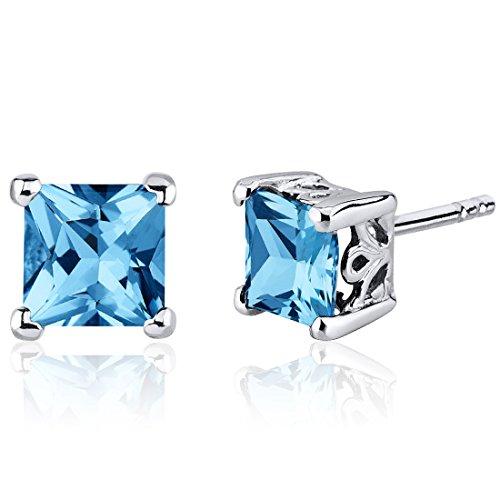 Swiss Blue Topaz Princess Cut Stud Earrings Sterling Silver Rhodium Nickel Finish 2.50 Carats