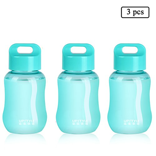 UPSTYLE Mini Plastic Coffee Travel Mugs Water Bottle Sports Water Bottle Cup for Milk, Coffee, Tea, Juice Size 180ml (6oz) Blue Pack of 3
