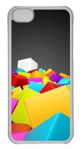 Customized Case Creative Illustration colored squares PC Transparent for Apple iPhone 5C
