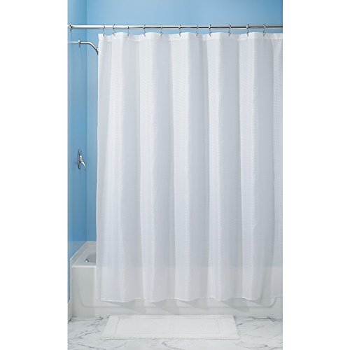 InterDesign Carlton Fabric Shower Curtain, Wide, 108 x 72, White