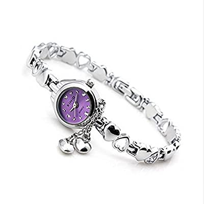 COCOTINA Women's Heart Chain Silver Stainless Steel Band Luxury Rhinestone Watch (Purple)