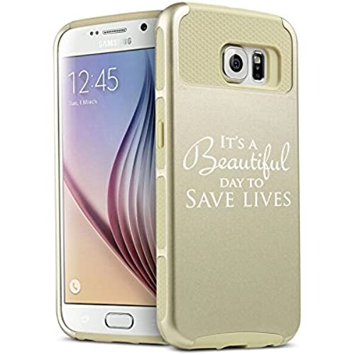 Samsung Galaxy S7 Shockproof Impact Hard Soft Case Cover It's A Beautiful Day To Save Lives (Gold) Sales