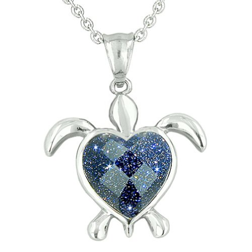 - Turtle Heart Powers Amulet Blue Goldstone Faceted Magic Energies Pendant 18 Inch Necklace