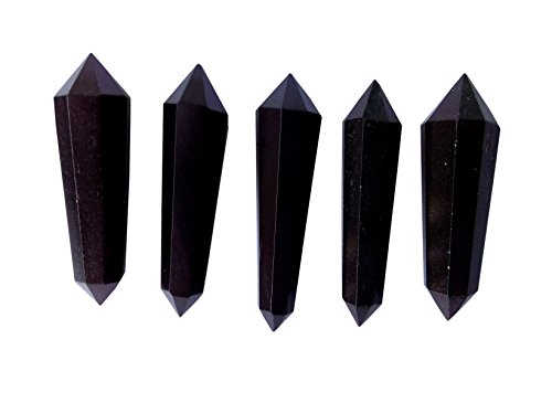 WholesaleGemShop 5 Pcs Double Terminated Black Tourmaline Crystal Healing Grid Points for Wire Wrapping Pendant