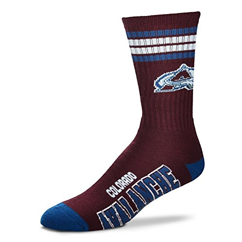 For Bare Feet NHL 4 Stripe Deuce Crew Men Socks-Colorado Avalanche-Large (10-13) (Hockey Colorado)