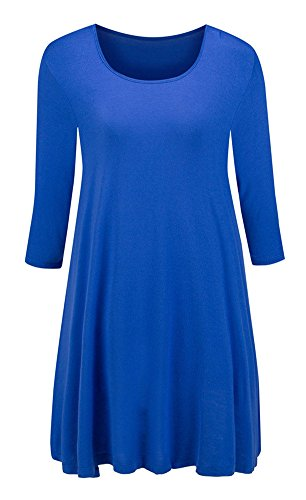 Taydey Womens 3 4 Sleeve Round Neck Tunic Tops – Small, Lake Blue