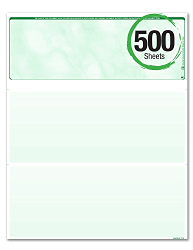 BLANK Business Standard Voucher Check Stock (Check On Top with two stubs / vouchers below) - Blank Check Paper - Versacheck Refills: Form #1000 - Green - 500 Sheets per Ream