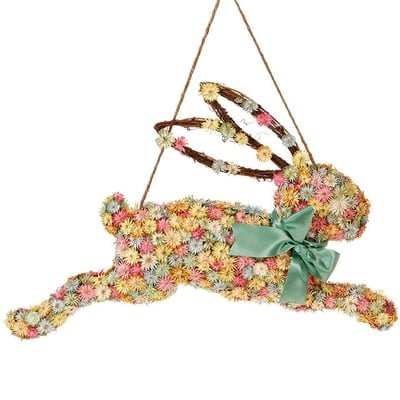 Raz Imports Easter Decor - Dried Flowers Bunny Wall Hanging