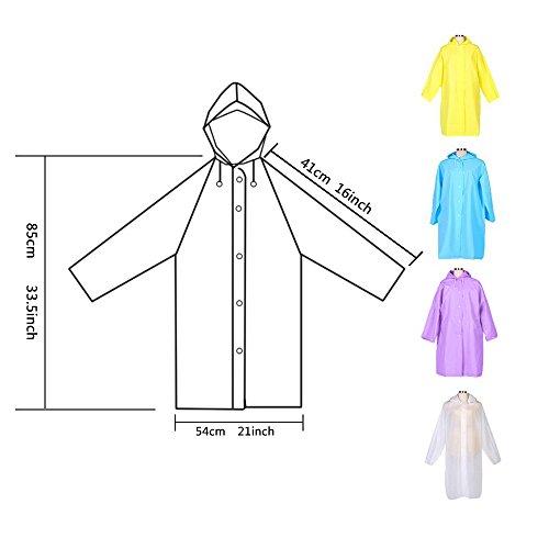 DEWEL Rain Poncho 4 Pack Reusable Eva Raincoat Hat Adult Children Outdoor (Children) by DEWEL (Image #4)