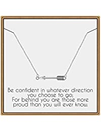 Graduation Gifts for Her, Arrow Necklace Senior 2020 Gifts Sideways Arrow Necklace College High School Graduation Gifts for Her Inspirational Graduation Gifts Necklace with Message Card