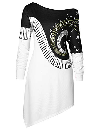 KCatsy Plus Size Music Notes Asymmetrical T-Shirt (Filter Grill Pre)