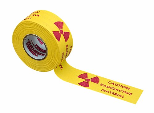 Thomas Red on Yellow Radioactive Warning Label, 76mm Length x 25mm Width (Roll of 170 - Red Radioactive