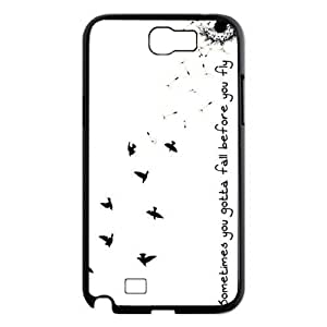 Simple Sometimes You Gotta Fall Quote Samsung Galaxy Note 2 N7100 Case Cover Dandelion Seed Birds by supermalls