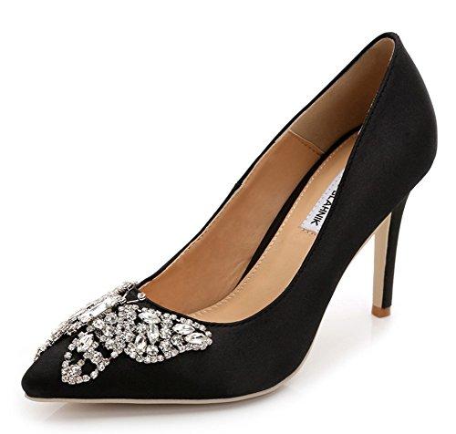 Aisun Women's Elegant Rhinestone Low Cut Pointed Toe Dress Slip On Heels Pumps Party Bridal Stiletto High Heel Shoes Black 8.5 B(M) US (Rhinestone Silk)
