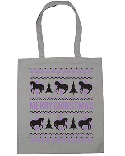 x38cm christmas Beach litres Merry Gym Bag HippoWarehouse Grey Light 42cm Shopping horse Tote 10 zangn6Eq