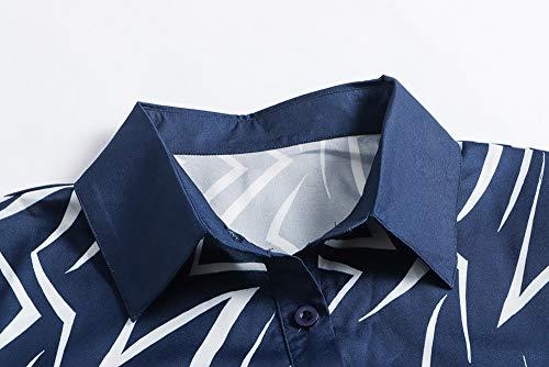 Vestido botón Challeng Larga Vestido Gasa Armada Vestido Solapa Manga Mini de de Casual Mini Vestido Mujeres P5nRrqxBw5