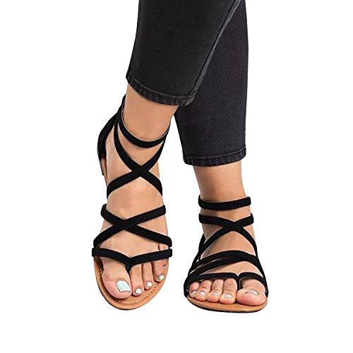 Coutgo Sandalen Voor Dames Gladiator Sandalen Met Wipband Casual Zomerse Platte Schoenen Zwart