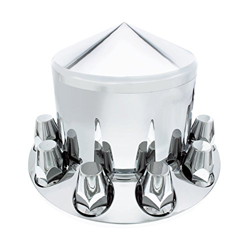 United Pacific Chrome Pointed Axle Cover Combo Kit w/ 33mm Nut Cover Semi Trailer - Thread-On