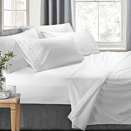 Clara Clark 6-Piece 100% Soft Brushed Microfiber Bedding Set Luxury Pleated Pillowcases, Cool & Breathable, 6 PC Sheets Cal King ()