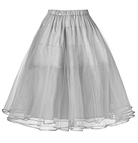 JS Fashion Vintage Dress Belle Poque Poofy Tutu Petti Skirts Crinoline for Girls Gray L -