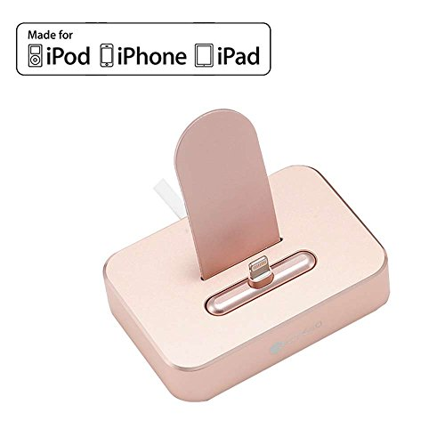 - [Apple MFi Certified] Phone Dock, COTEetCI Power Station Dock, Stand & Charger -Rose Gold