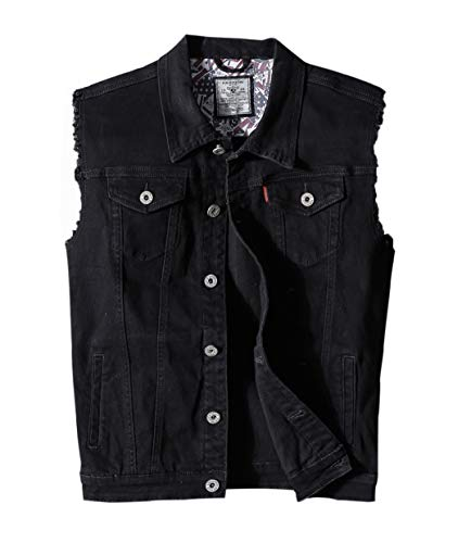 (Heihuohua Men's Casual Button-Down Denim Vest Trucker Jean Jacket (Large,)