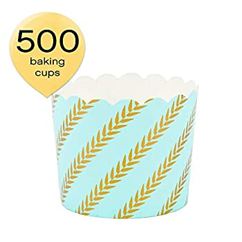 Image of Baking Cups Simply Baked CLG-139C Paper Baking Cup, 500-Pack, Mint Gold Leaf
