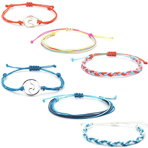 AOASK Wave Bracelet Set Mountain Daisy Flower Heart Pearl Waterproof Wax Coated Braided Rope Friendship Bohemian Handmade -
