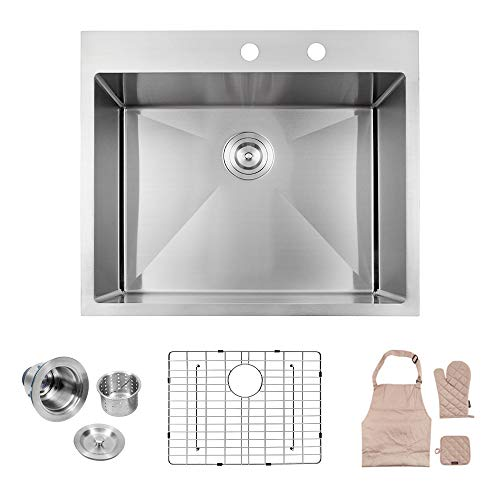 - Lordear LT2522R1 25 x 22x 10 Inch Drop-in Topmount 16 Gauge R10 Tight Radius Stainless Steel Kitchen Sink Single Bowl