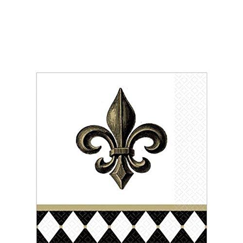 - amscan Decorative Fleur De Lis Party Beverage Paper Napkins (16 Pack), 5 x 5, Black/White