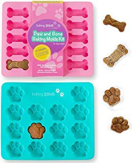 Paw Mold & Dog Bone Mold - x2 Pack Paw Print Cake Mold and Dog Cake Bone Pan - Silicone Mold Dog Treat Tray, Ice cube, Cookie Cutters, Candy for Pets and Kids by BakingMissy by BakingPaws (Image #1)