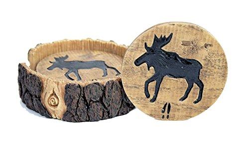Moose Decor Wood and Log Look Coaster Set