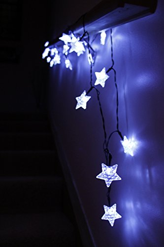 led star lights string large white star shaped covers solar energy battery operated light up holiday christmas tree and outdoor hanging rope
