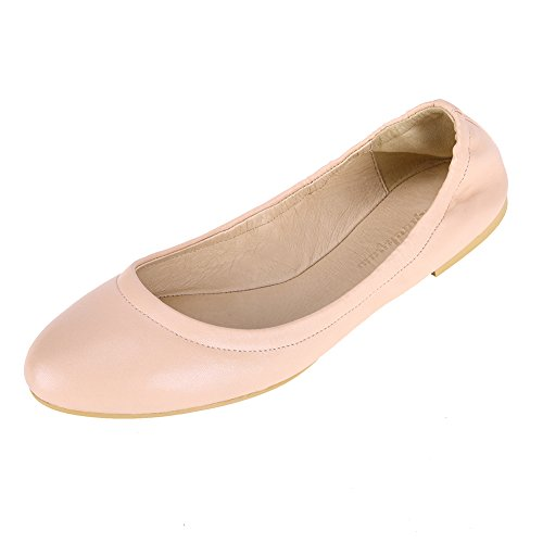 Pinpochyaw Ballet Flat Womens Walking Casual Leather Shoes (7 B(M) US, Pink)