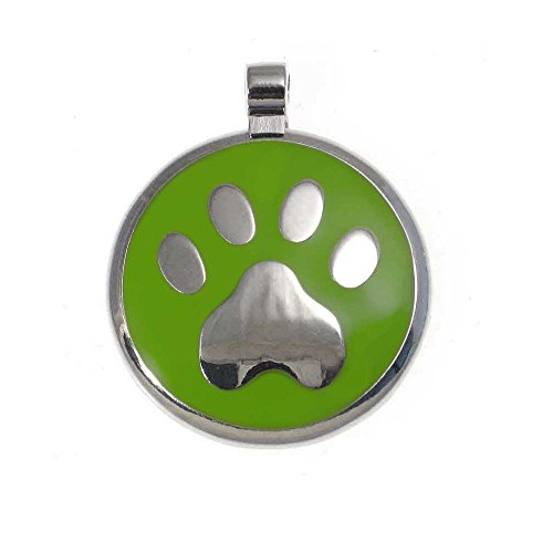 LuckyPet Pet ID Tag: Paw Print Jewelry Tag - Custom Engraved Cat Tags and Dog Tags -Size: large, Color lime ()