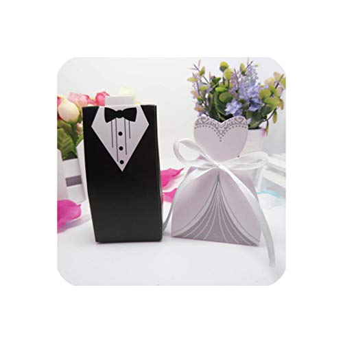 - 50 Pcs Laser Cut Candy Boxes Bags Bridal Groom Gift Cases Tuxedo Dress Gown Candy Box Wedding Favors and Gifts with Ribbon, 65X35X65Mm