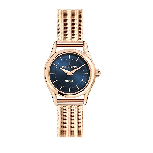 TRUSSARDI Women's T-Light Analog-Quartz Stainless-Steel-Plated Strap, Rose Gold, 16 Casual Watch (Model: R2453127502) ()