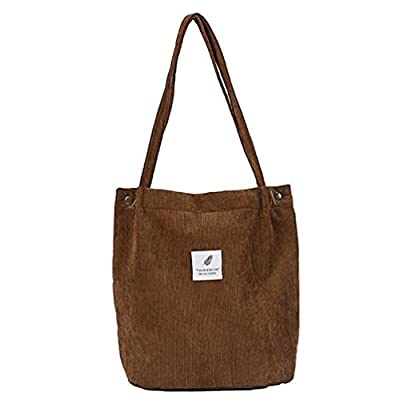 Classic Retro Corduroy Pure Color Simple Chic Shoulder Cotton Travel Shopping School Student Work Weekend Tote Bag Daypack