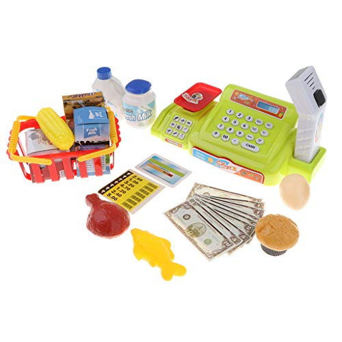 nic Cash Register Scanner Toy w/ Sound & Light - Pretend Play Supermarket Checkout Game, w/ Shopping Basket & Play Food Grocery ()
