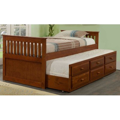 Twin Captain Bed with Trundle Finish: Light Espresso