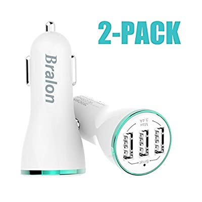 Rapid Car Charger, Bralon 3.4A 3 Ports 2-Pack Car Charger with Smart Identification for iPhone 8 / 7 / 6 / 5 / 4 (S/Plus), iPad Pro / Air 2 / mini, Galaxy S8 /S7 / S6 / Edge / Plus, Note 5/4 and More from JINHAILI