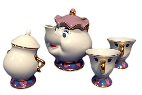 [Limted Edition]Disney's Beauty And The Beast Pot and Chip Tea cup & Sugar Pot Import from Japan -