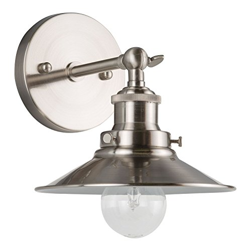 Andante One-Light Wall Vanity Corridor Sconce Lamp with LED Edison Bulb Included. Brushed Nickel. UL Listed, Linea di Liara LL-WL407-BN