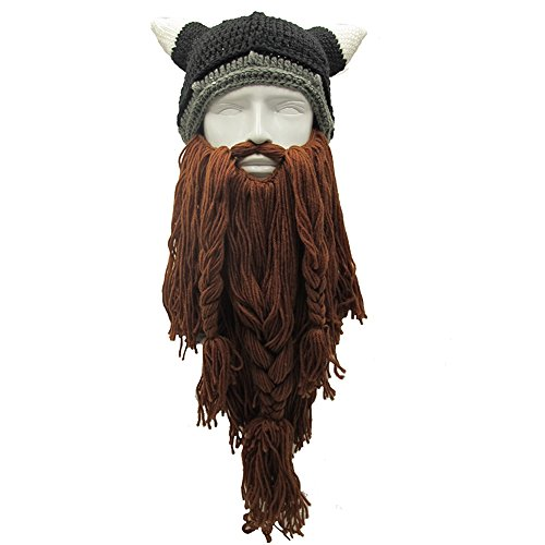 Knit Beard Hat Long Bearded Horns Hat Detachable Bearded Face Mask Cap Outdoor Activities Skiing Skull - Long Face For Beard