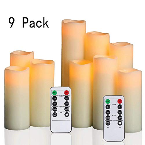 "Antizer Flameless Candles Battery LED Candles Pack of 9 (H 4"" 5"" 6"" 7"" 8"" 9"" X D 2.2"") Ivory Real Wax Pillar Candles With Remote Timer Function (Batteries not included)"
