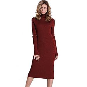 PrettyGuide Women Sweater Turtleneck Ribbed Knit Slim Fit Long Sleeve Midi Sweater Dress
