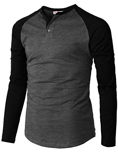 H2H Mens Casual Premium Slim Fit T-Shirts Henley Long Sleeve Cotton Blended CHARCOALBLACK US S/Asia M (CMTTL117) (T-shirt Henley Premium)