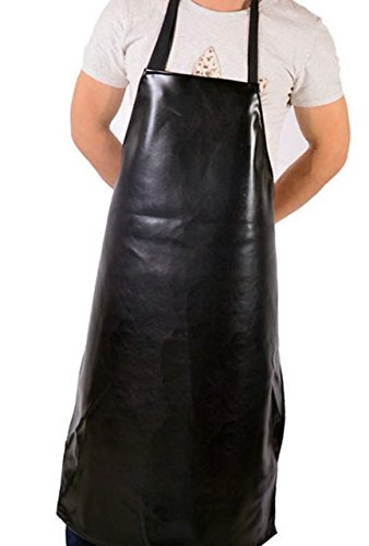 Durable Vinyl Apron Waterproof for dishwashing etc Protect you and girl and kids from water stains (black) (Plus Dishwashing Liquid)