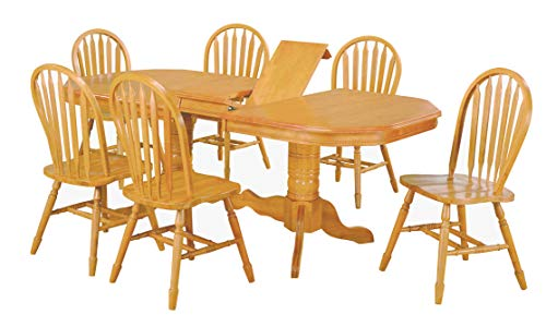 Sunset Trading DLU-TCP4284-820-LO7PC 7 Piece Double Pedestal Trestle Butterfly Leaf Dining Set ()